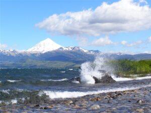 Lago Huechulafquen volcano Lanin